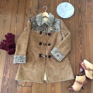 Vintage Midcentury Shearling Suede Leather Coat